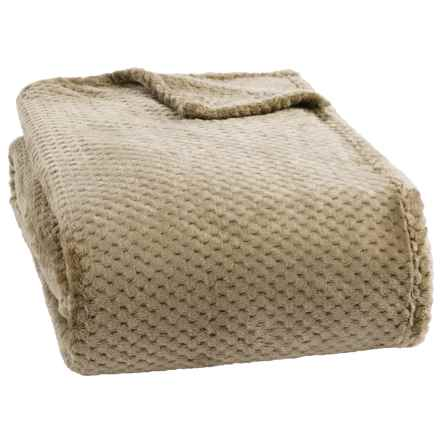dream home jacquard plush popcorn blanket king in taupe closeouts - King Size Blanket