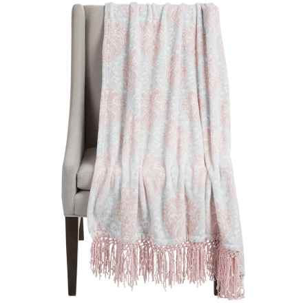 """Dream Home Lesley Chenille Fringed Throw Blanket - 50x70"""" in Blush - Closeouts"""