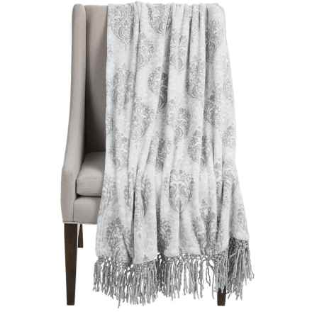 "Dream Home Lesley Chenille Fringed Throw Blanket - 50x70"" in Grey - Closeouts"