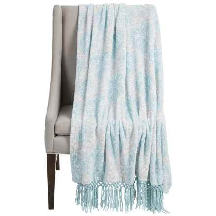 "Dream Home Lesley Chenille Fringed Throw Blanket - 50x70"" in Mineral - Closeouts"