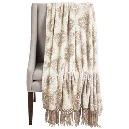 "Dream Home Lesley Chenille Fringed Throw Blanket - 50x70"" in Taupe - Closeouts"