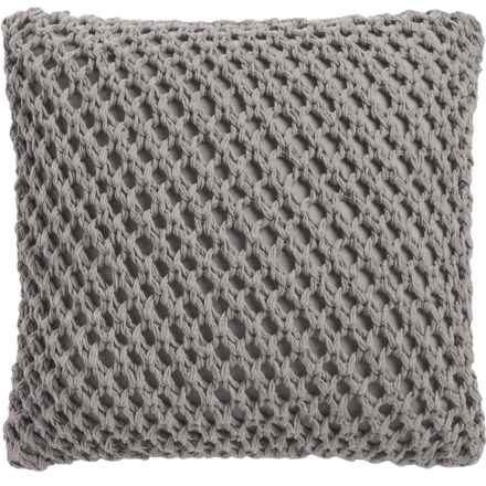 """Dream Home Megan Crochet Throw Pillow - 20x20"""", Feather Fill in Grey - Closeouts"""