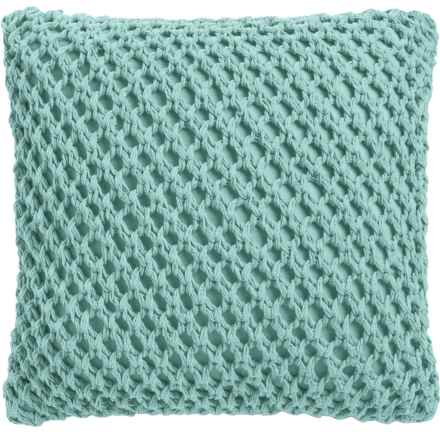 """Dream Home Megan Crochet Throw Pillow - 20x20"""", Feather Fill in Mineral - Closeouts"""