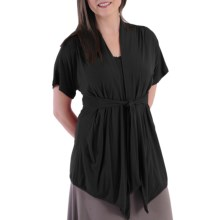 Dreamsacks Lila Gathered Tie-Front Cardigan Sweater - Short Sleeve (For  Women) in Black - Closeouts