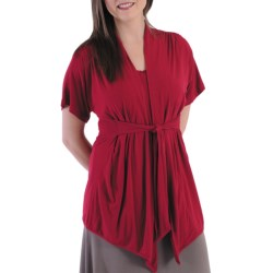 Dreamsacks Lila Gathered Tie-Front Cardigan Sweater - Short Sleeve (For  Women) in Scarlet