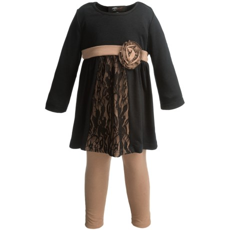 Dress and Pants Set with Decorative Buttons - 2-Piece, Long Sleeve (For Little Girls) in Black/Gold