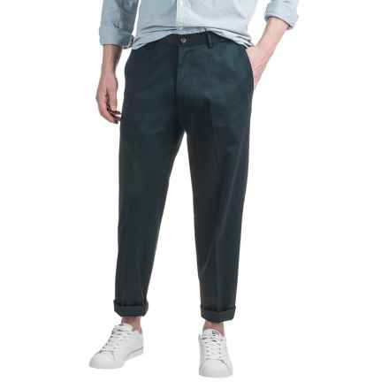 Dress Khaki Pants - Flat Front, Cotton Twill (For Men) in Navy - 2nds