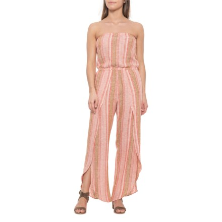 4d05247658 Drew Red-Natural Emerson Strapless Split Leg Jumpsuit - Linen Blend (For  Women)