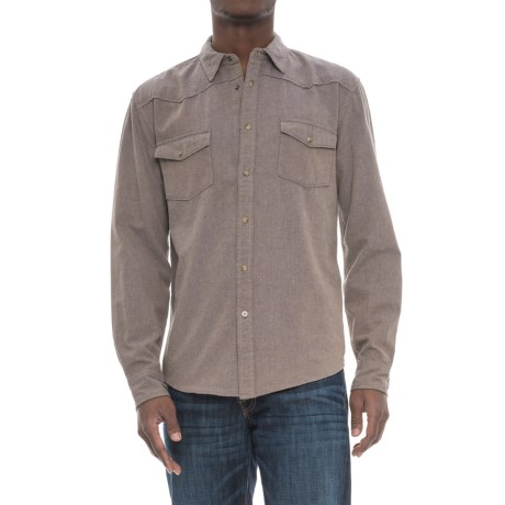Drill Clothing Co. Western Denim Shirt - Snap Front, Long Sleeve (For Men) in Blue/Tan