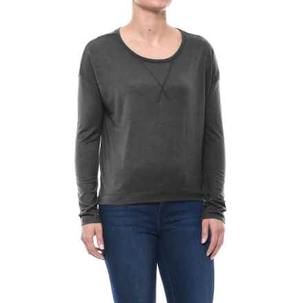 Drop-Shoulder T-Shirt - Long Sleeve (For Women) in Charcoal - 2nds