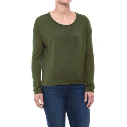Drop-Shoulder T-Shirt - Long Sleeve (For Women) in Olive - 2nds