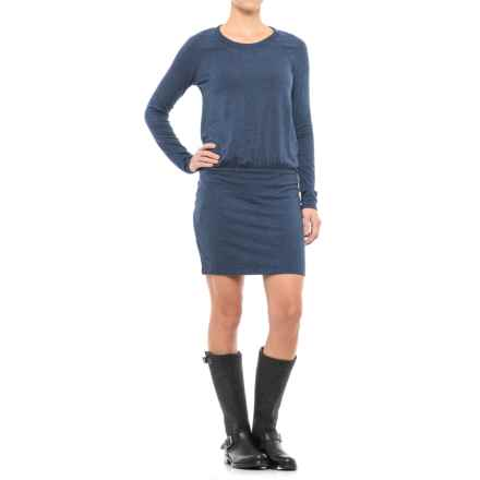 Drop-Waist Dress - Long Sleeve (For Women) in Dark Blue - 2nds