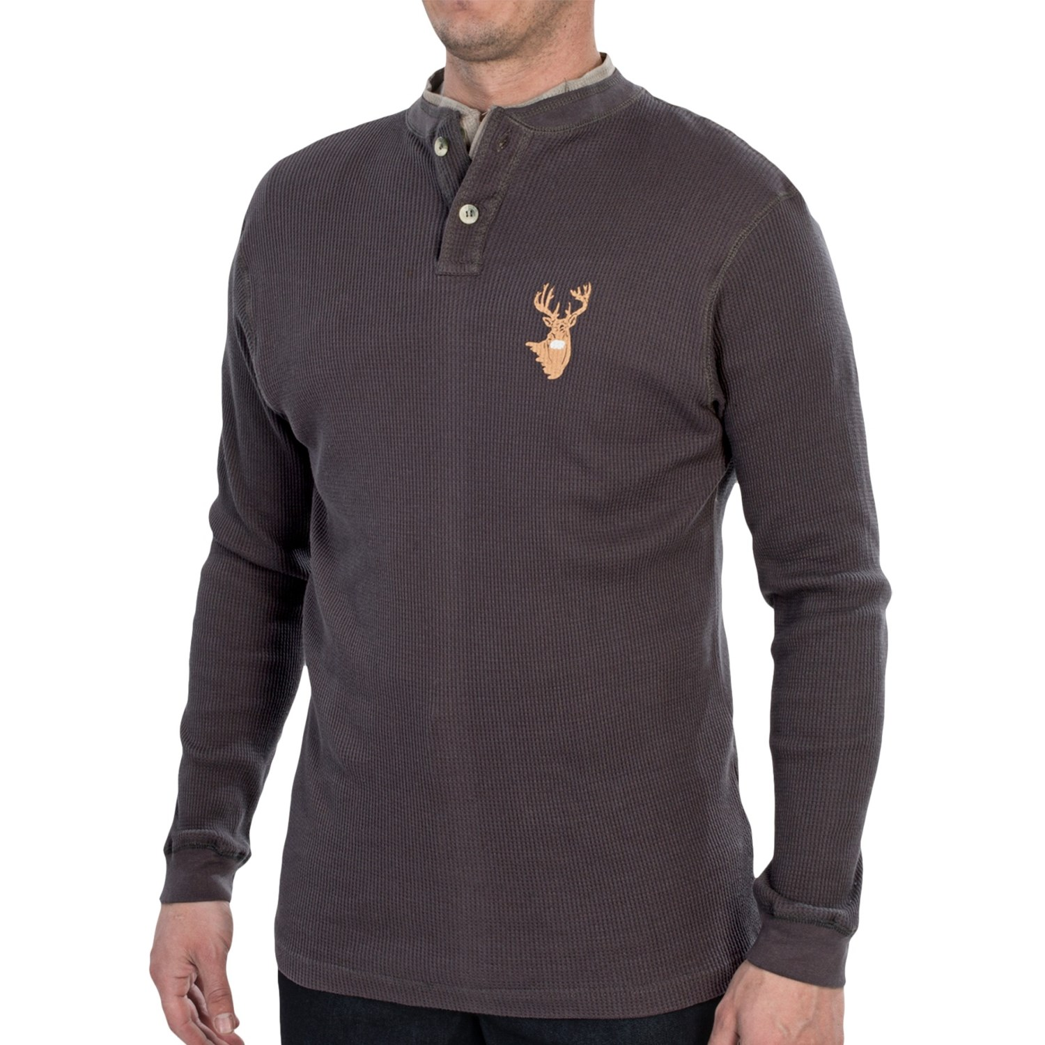 Dual neck thermal henley shirt long sleeve for men for Men s thermal henley long sleeve shirts