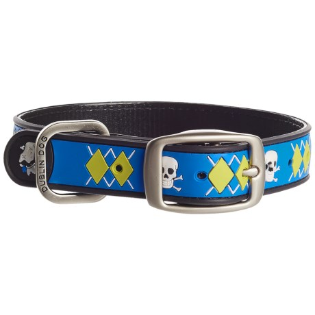 Dublin Dog Argyle No-Stink Waterproof Dog Collar in Blue