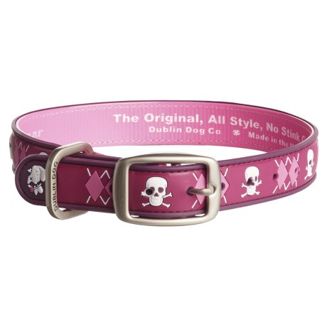 Dublin Dog Argyle No-Stink Waterproof Dog Collar in Pirate Punch