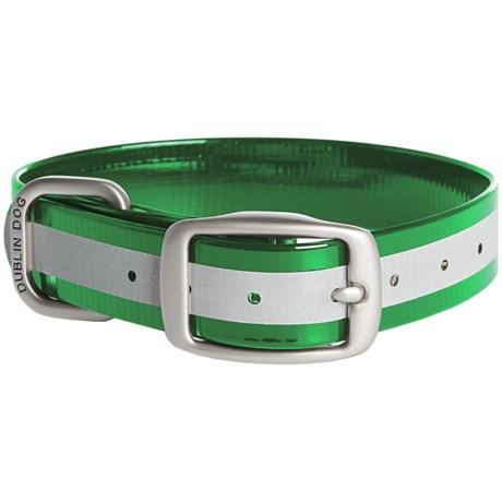 Dublin Dog No-Stink Reflex Dog Collar - Waterproof in Green
