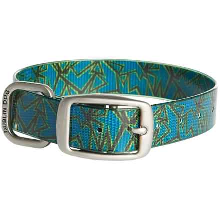 Dublin Dog No-Stink Shattered Pattern Dog Collar - Waterproof in Blue - Closeouts