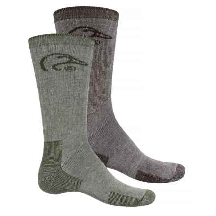 Ducks Unlimited 2/178 Boot Socks - Crew, 2-Pack (For Men) in Olive/Brown - Closeouts