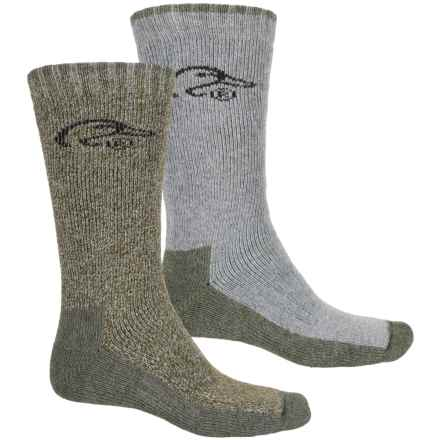 Ducks Unlimited Full Cushion Wool-Blend Socks - Mid Calf (For Men) in Green Marl/Dark Grey - Closeouts