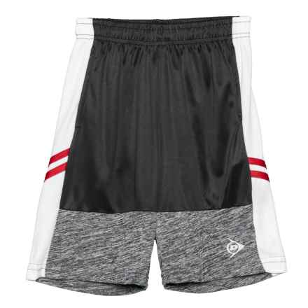Dunlop Color-Block Shorts with Solid Side Panel (For Boys) in Black/White - Closeouts