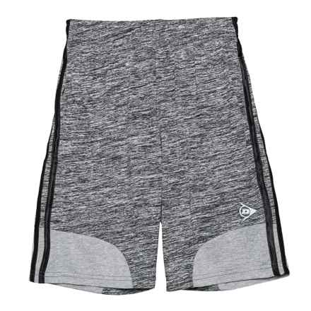 Dunlop Heathered Solid Stripe Shorts (For Boys) in Spacedye Charcoal/Black - Closeouts