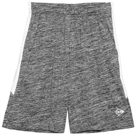 Dunlop Solid Shorts with Side Panels (For Boys) in Spacedye Charcoal/White - Closeouts
