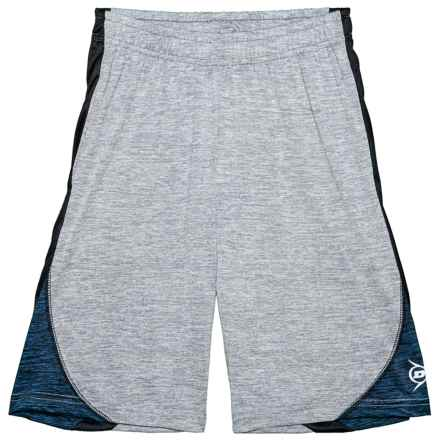 Dunlop Space-Dyed Shorts with Side Panels (For Boys) in Spacedye Heather Grey/Spacedye Navy - Closeouts