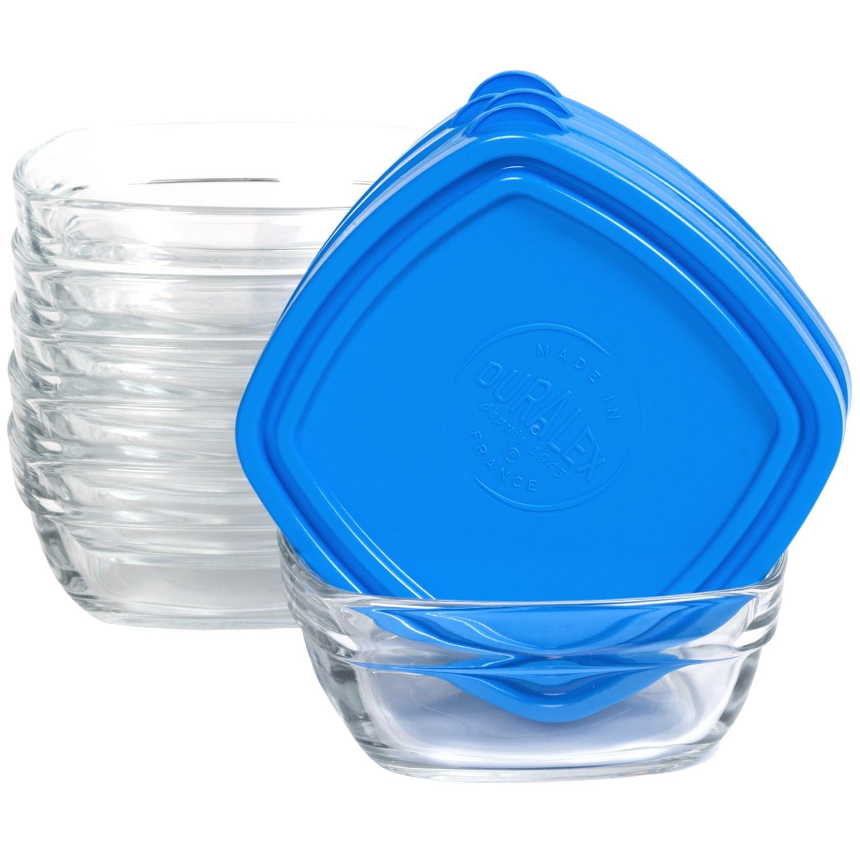 duralex lys 10 oz square storage bowls with lids tempered glass set of 6 save 0. Black Bedroom Furniture Sets. Home Design Ideas