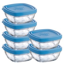 Duralex Lys 5.25 oz. Square Storage Bowls with Lids - Tempered Glass, Set of 6 in Clear/Blue - Closeouts