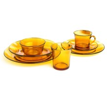 Duralex Lys Glass Service Set - 44-Piece in Amber - Closeouts