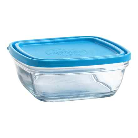 "Duralex Lys Square Bowl with Lid - 36 oz., 6.75"" in Blue - Closeouts"