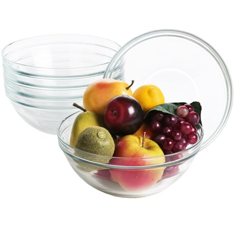 Duralex Lys Stackable Bowls - 2.5 qt., Tempered Glass, Set of 6