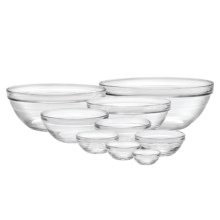 Duralex Lys Stackable Bowls - Tempered Glass, Set of 9 in Clear - Closeouts
