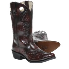 "Durango 12"" Leather Cowboy Boots - Pointed Toe (For Men) in Black Cherry - Closeouts"