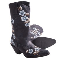 "Durango Crush Floral Embroidered Cowboy Boots - 12"", Leather, Snip Toe (For Women) in Distressed Navy - Closeouts"