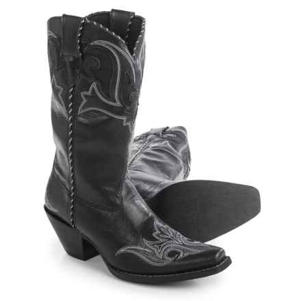 "Durango Peek-a-Boot Cowboy Boots - 11"", Snip Toe (For Women) in Black - Closeouts"