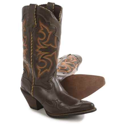 "Durango Rock 'n' Scroll Cowboy Boots - 12"", J-Toe (For Women) in Brown - Closeouts"