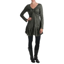 Dylan by True Grit Crinkle-Knit Dress - Lace Trim, Long Sleeve (For Women) in Vintage Charcoal - Closeouts