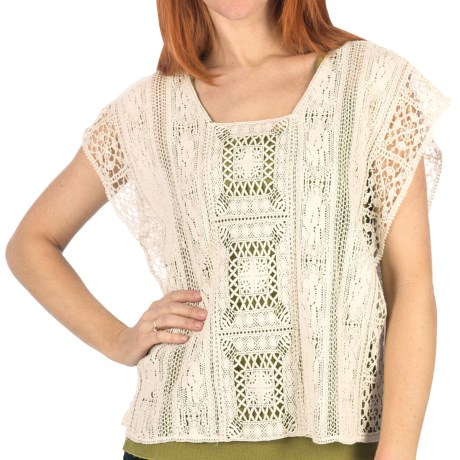 Dylan by True Grit Crochet Shirt - Cotton Patchwork, Sleeveless (For Women) in Natural