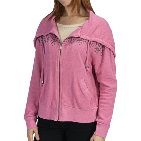 Dylan by True Grit Fair Isle Hoodie - French Terry Cotton (For Women) in Pink