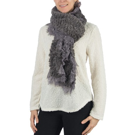 Dylan by True Grit Faux-Fur Scarf - Lace Trim (For Women) in Grey