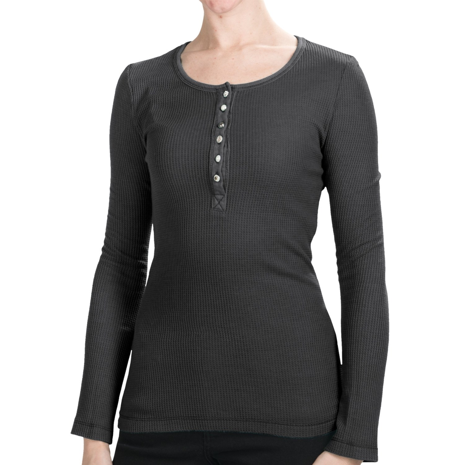 Dylan by true grit lace henley shirt long sleeve for for Black long sleeve henley shirt
