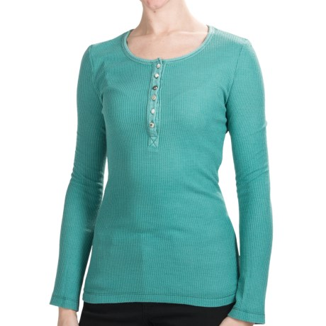 Dylan by True Grit Lace Henley Shirt - Long Sleeve (For Women) in Vintage Turquoise
