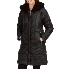 Dylan by True Grit Long Coat - Faux Mohair Fur Trim (For Women) in Black/Black - Closeouts