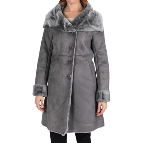 Dylan by True Grit Long Faux-Shearling Jacket (For Women) in Flannel