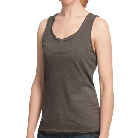 Dylan by True Grit Ruffle Sueded Heather Tank Top - Racerback (For Women) in Charcoal/Heather