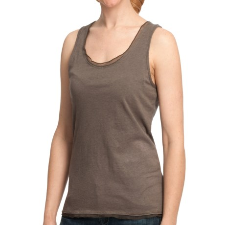 Dylan by True Grit Ruffle Sueded Heather Tank Top - Racerback (For Women) in Malt/Heather