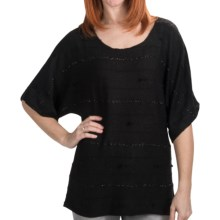 Dylan by True Grit Sparkle Stripe Shirt - 3/4 Sleeve (For Women) in Black - Closeouts