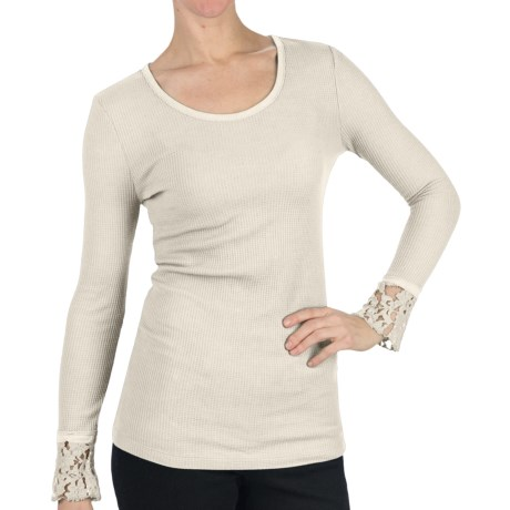 Dylan by True Grit Thermal T-Shirt - Scoop Neck, Long Sleeve (For Women) in Glam White