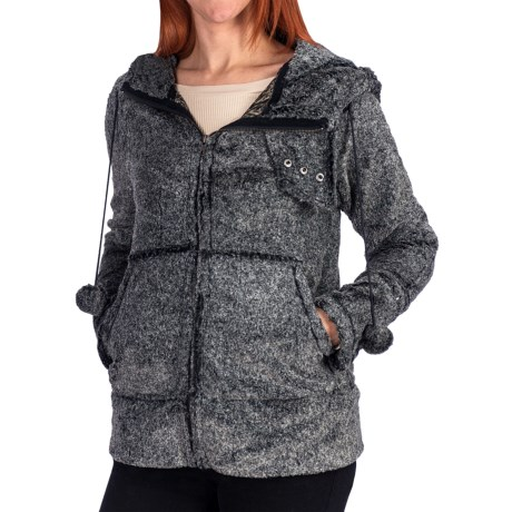 Dylan by True Grit Vintage Heather Silky Jacket - Faux Fur (For Women) in Heather Black